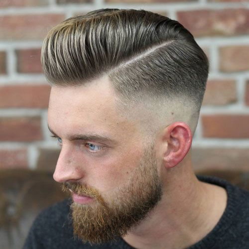 Cool Pompadour + Hard Part + Mid Skin Fade