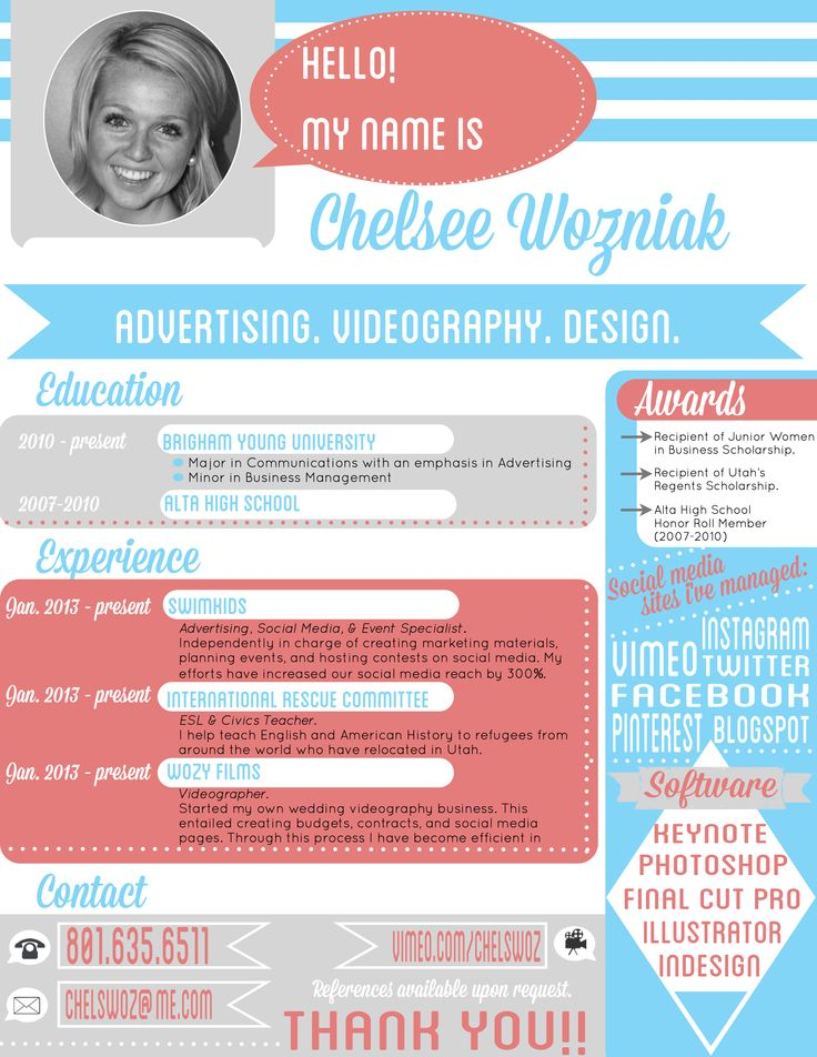 creative resume i wonder what the hr department thought about her adding her picture. Resume Example. Resume CV Cover Letter