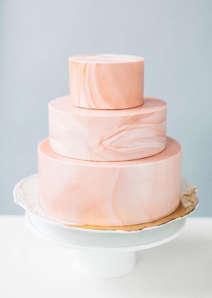 marbled pink wedding cake