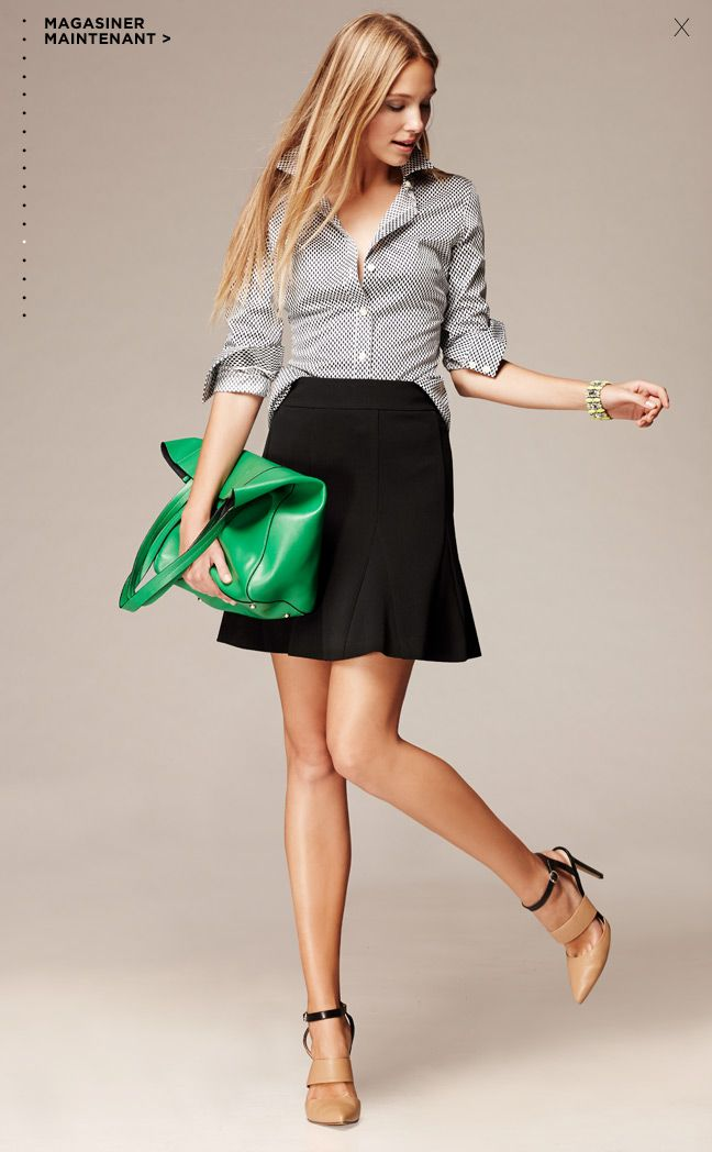 flared skirt, gingham button-down, strappy heels, bright purse