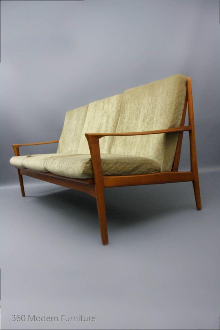 MID Century Modern Lounge Sofa 3 Seater Couch Teak Retro Vintage Lounge Fler Danish era in VIC 360 Modern Furniture | eBay