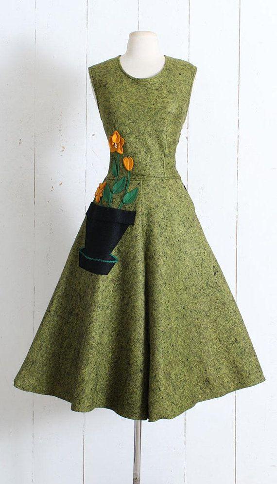 98cbb9639895 Vintage 1950s Dress vintage 50s felt dress by Vicky Vaughn