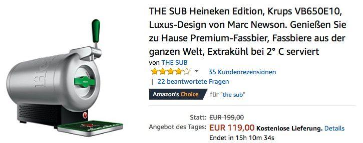 The Sub Heineken Edition Premium Heimzapfanlage Krups Vb650e10 Heineken Bier Und Schnappchen
