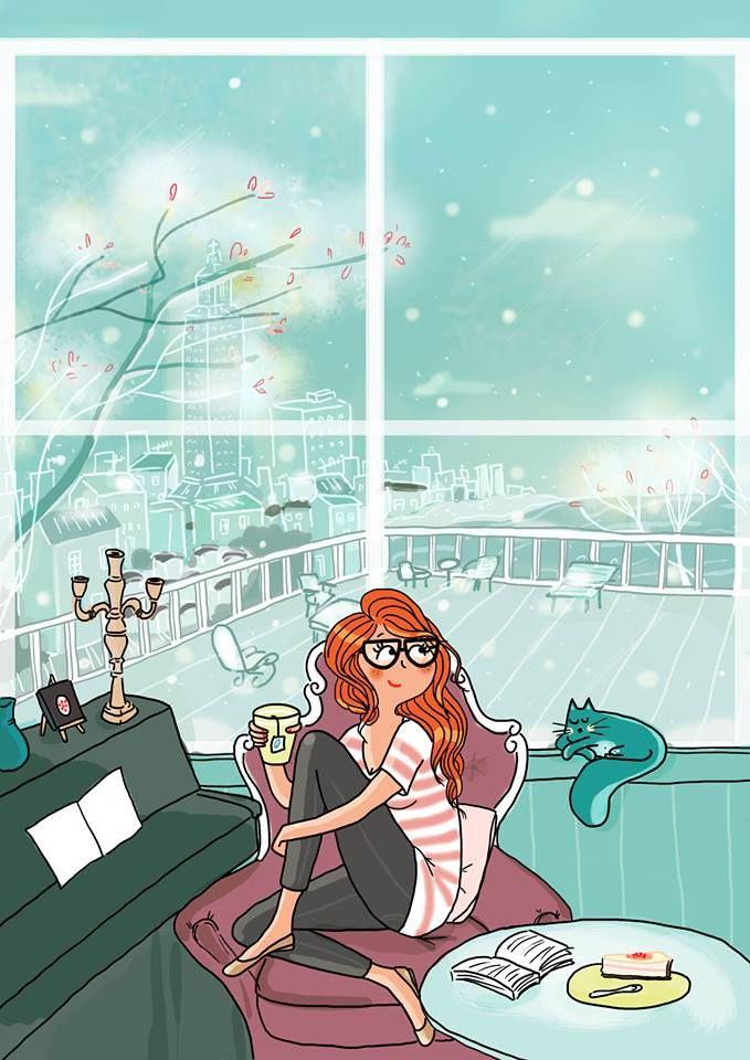 A Book, a cup of warm Tea, a slice of Cake and the Cat on the Window... Fabulous! #GirlIllustration / Un libro, una tazza di Tè caldo, una fetta di torta e il gatto sulla finestra... Fantastico! #IllustrazioneRagazza - Art by Marygribouille
