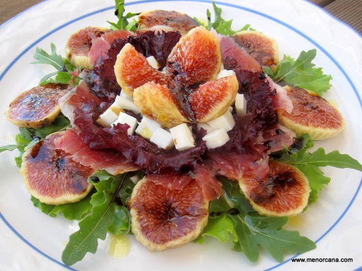 Resultado de imagen para Ensalada con higos y crujientes de jamón serrano