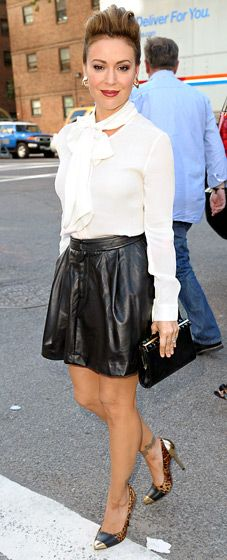 Leather skirt + white shirt. Alyssa Milano: Marissa Webb Spring 2014 Fashion Show at NYFW