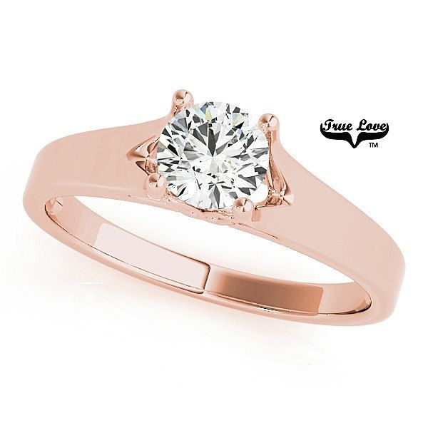 Engagement Ring  1.00 Carat 6.5mm  Solitaire Forever one Round Brilliant Cut  Moissanite  14 kt. Rose Gold #7597 by TrekJewellers on Etsy