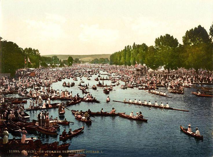 английский рынок города Henley_Regatta, _Henley-на-Темзе, _England, _1890s