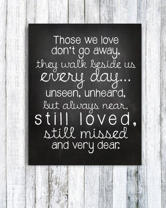 Digital print of an adorable saying to remember and celebrate those whove passed on. Its been used in numerous different ways - at a wedding this was printed and framed and photos of family members who have passed were framed around it on the table. Some have used it in a collage with photos and trinkets from their grandparents or parents. One lady made a memory box with things that reminded her of her sister who passed. This is a digital item for INSTANT download HOW IT…