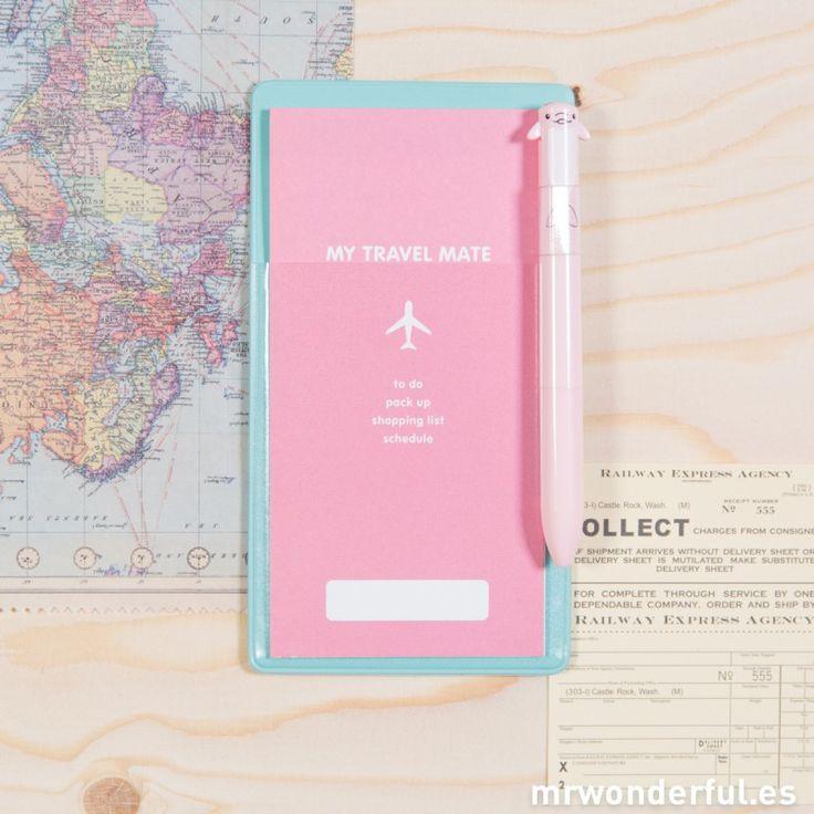 Funda mint para billetes de avión + lista de viaje rosa