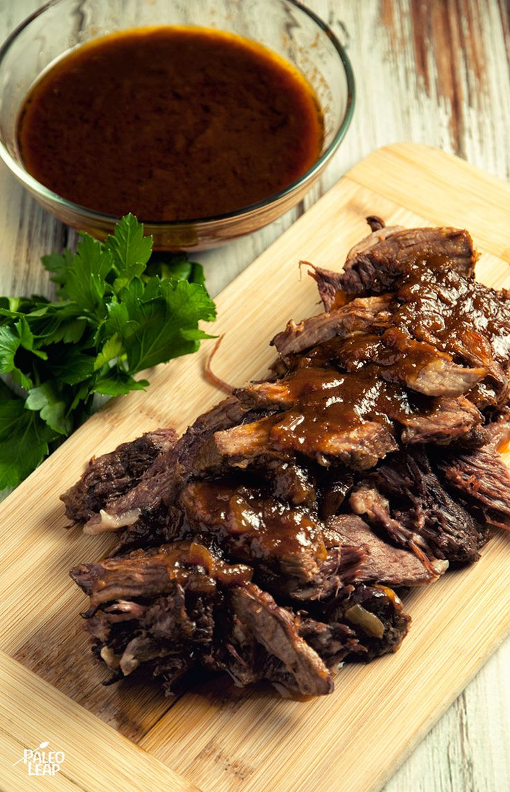 Brown 2lbs. beef brisket all sides over a high heat/remove. Cook 2 c diced onion for one or two minutes medium heat. Add 2 T tomato paste ¾ c beef stock ½ c honey 2 T Dijon mustard ½ c ketchup 2 T balsamic vinegar 2 T Worcestershire sauce 1 t liquid smoke Sea salt  & freshly ground blackpepper heat up. Drizzle sauce over the brisket cook ultra low for 8 hours. Remove brisket  & pull the meat apart or slice against the grain. Cook until the sauce thickens up and serve the meat with the hot…