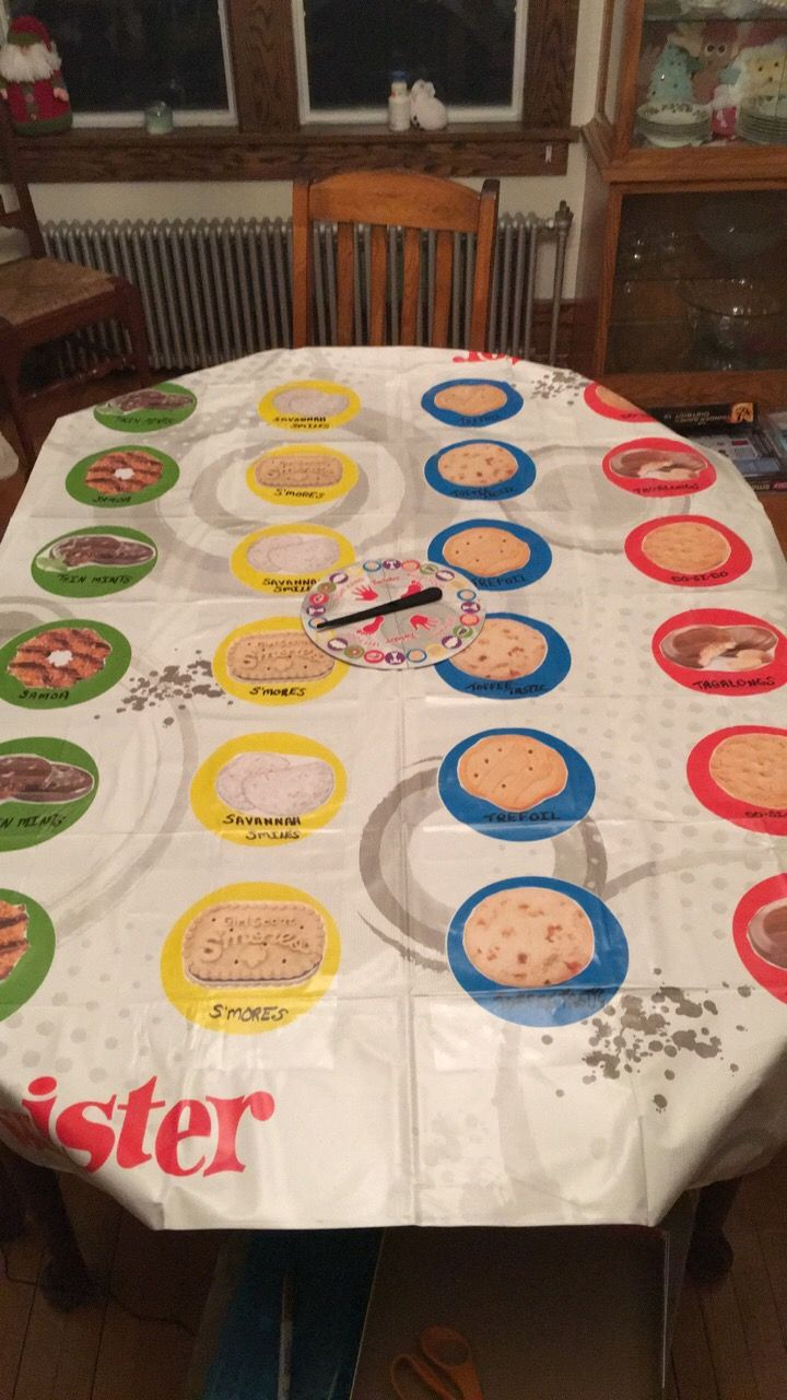 I created a Cookie Twister game for our Cookie Kick Off Rally. I have all of the images saved. I used clear Contact paper to cover each picture.  I labeled each picture as well.  Goal is to learn/review Girl Scout Cookie names and images while also having fun!