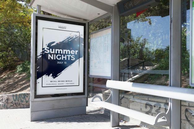 Download Billboard Mockup On Bus Stop For Free Billboard Mockup