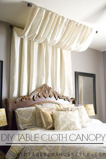 Use a curtain rod and a table cloth for a cheap Marie Antoinette ~vibe~. | 14 Dreamy DIY Canopy Beds That Will Transform Your Bedroom