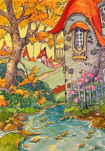 "Daily Paintworks - ""The Autumn Pool Storybook Cottage Series"" - Original Fine Art for Sale - © Alida Akers"