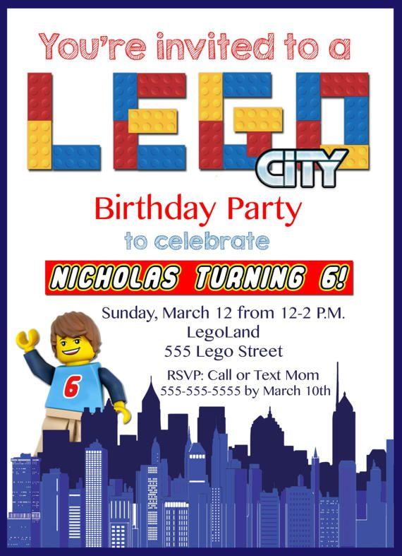 LEGO CITY Birthday Invitation LEGO City Inspired Lego City