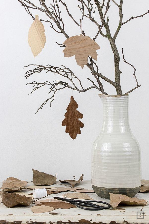 Furnieranhänger Blatt - Herbst DIY