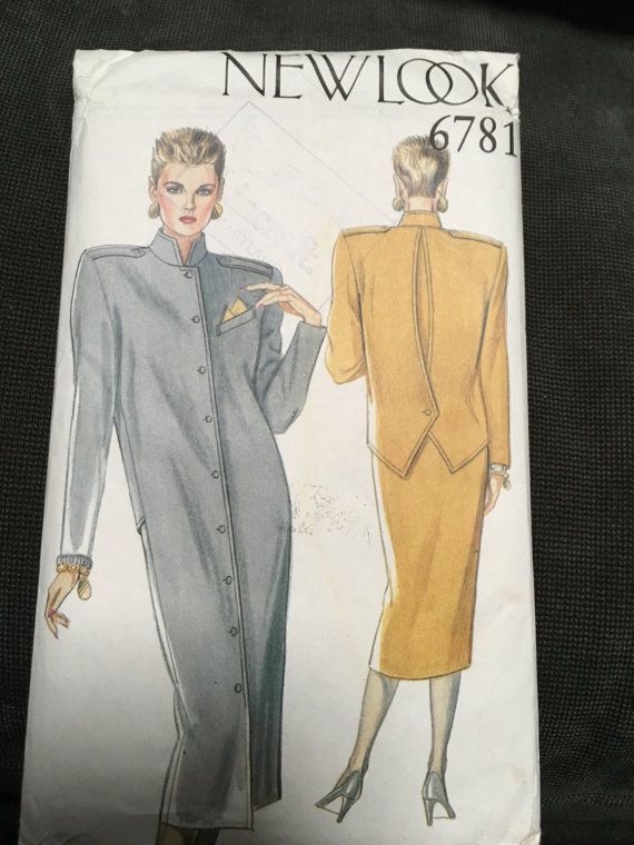 1980s New Look 6781  -  dress UNIQUE BACK buttoned detail, Multisite 8 -18 Uncut shoulder pads 1980s structured style weseatree Etsy
