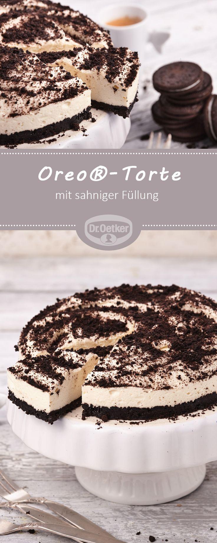 Oreo®-Torte - Für alle Oreo®-Fans eine köstliche Kombination aus knusprigen Oreos® und sahniger Füllung - ohne Backen #rezept #lecker #torte