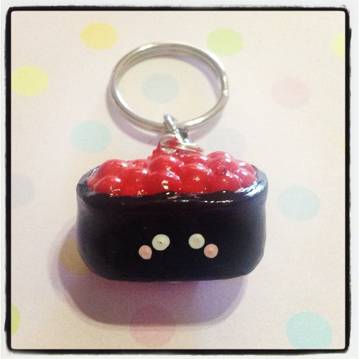 Salmon Roe Sushi Keychain! It can be used to hold your keys, or decorate your bag! It is approx. 2.5cm long, 1.5cm wide and 1.5cm thick.   Please keep out of reach of people who may mistaken this for real food - as it is inedible in every way! ^_^  *** Please remember that this is a hand craf...