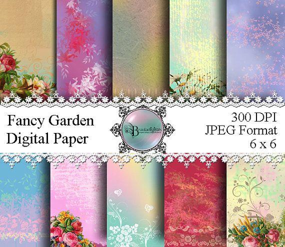 Fancy Garden Digital Papers  Pattern by Beauladigitals on Etsy