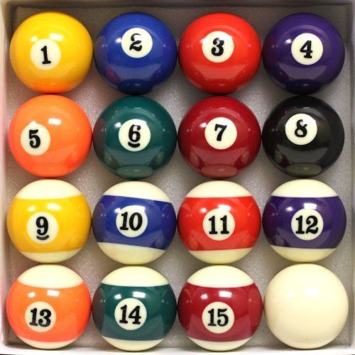 Pool Table Billiard Ball Set by Felson Billiard Supply by FELSON BILLIARD SUPPLIES. $27.99. Pool enthusiasts will appreciate this premium set of billiard balls. Made of high-quality hard resin, this set of 16 pool balls is a great addition to any home game.  Made by Felson Billiard Supplies, each ball measures 2 ¼ inches and is precision engineered for perfect roundness. These billiard balls are packed in a soft bed of felt to ensure easy storage when not in ...