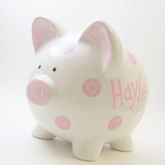 #PolkaDot Personalized Ceramic #PiggyBank  by #ThePigPen, $42.50