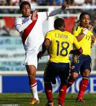 Colombia 0 Peru 2 aet in 2011 in Cordoba. Juan Zuniga clears for Colombia as the games go into extra time in the Quarter Final at Copa America.