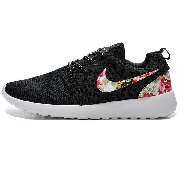 Custom Nike Roshe Run Sneakers Athletic Sport Womens Shoes Black Color... ($92) ❤ liked on Polyvore featuring shoes, sneakers, grey, sneakers & athletic shoes, tie sneakers, women's shoes, floral printed shoes, black sport shoes, gray shoes and sports footwear