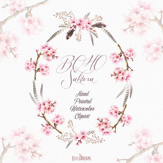 Sakura Wreath, Bouquets, Feathers. Hand Painted Watercolor Clipart. Boho Wedding, spring floral, invitations, greetings, bloom, romantic
