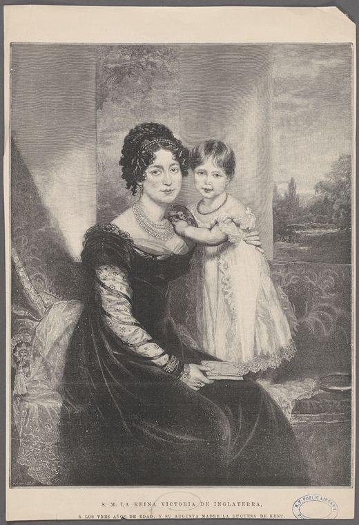 S.M.L. La Reina Victoria de Inglaterra, á los tres años de edad, y su augusta madre La Duquesa de Kent. From New York Public Library Digital Collections.