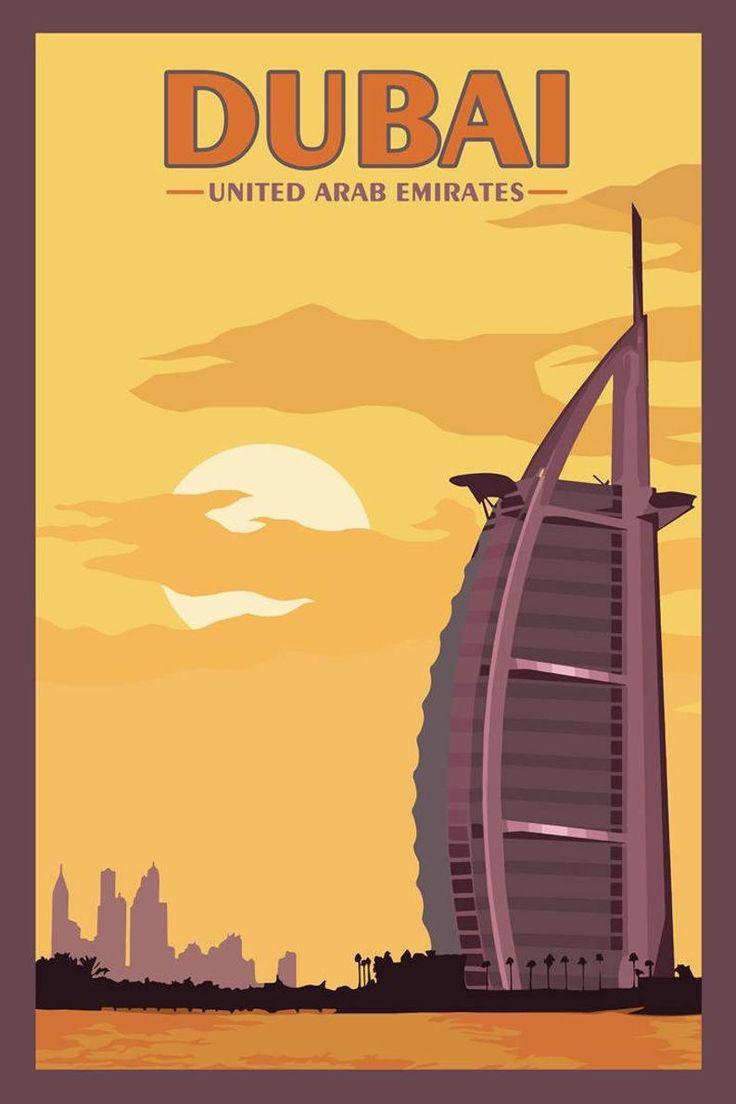 Dubai Uae Vintage Travel Poster In 2021 Retro Travel Poster Vintage Travel Posters Travel Posters