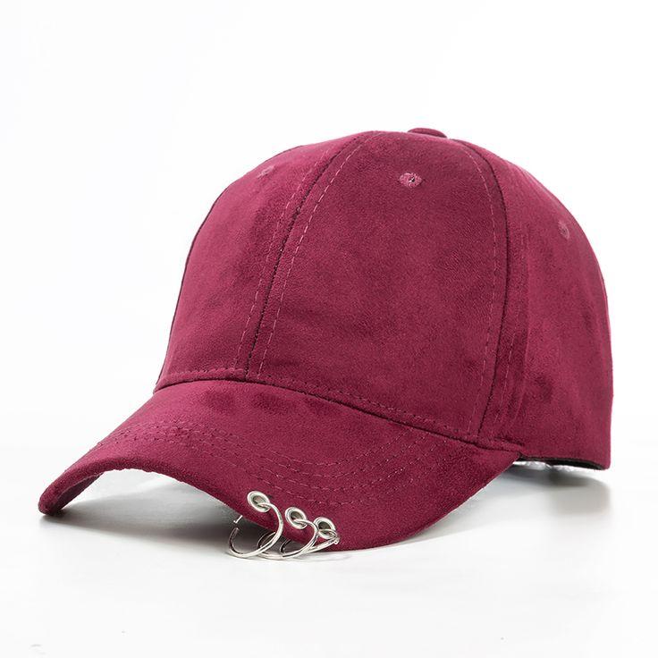 Xuyijun 2016 gd unisex sólido anillo imperdible curva sombreros casquette gorras snapback caps gorra de béisbol hombres mujeres suede