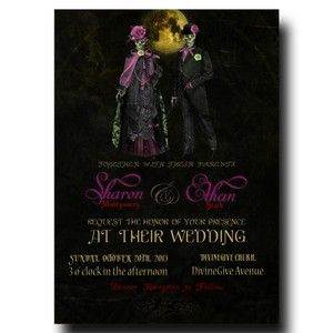 Halloween Wedding Invitation - Mrs & Mr Halloween with a yellow moon Card(23)
