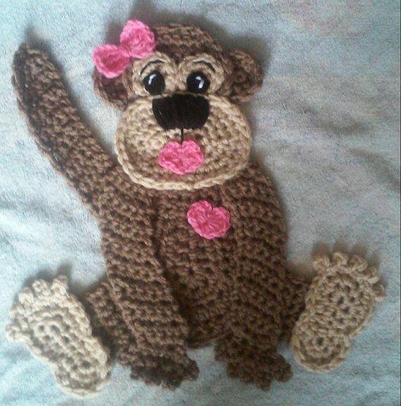 Crochet Miss Monkey Potholder/Big Apllique by 3ThreadinBettys