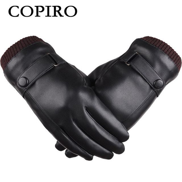 Copiro Men's Winter Cycling Gloves Touchscreen Mittens Full Finger PU Guantes Bicicleta Invierno Guanti Ciclismo Luva Eldiven