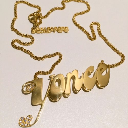 """The stylist who worked on Beyonce's """"Blow"""" video asked us to make a custom nameplate necklace for the project. She and the director of the v..."""