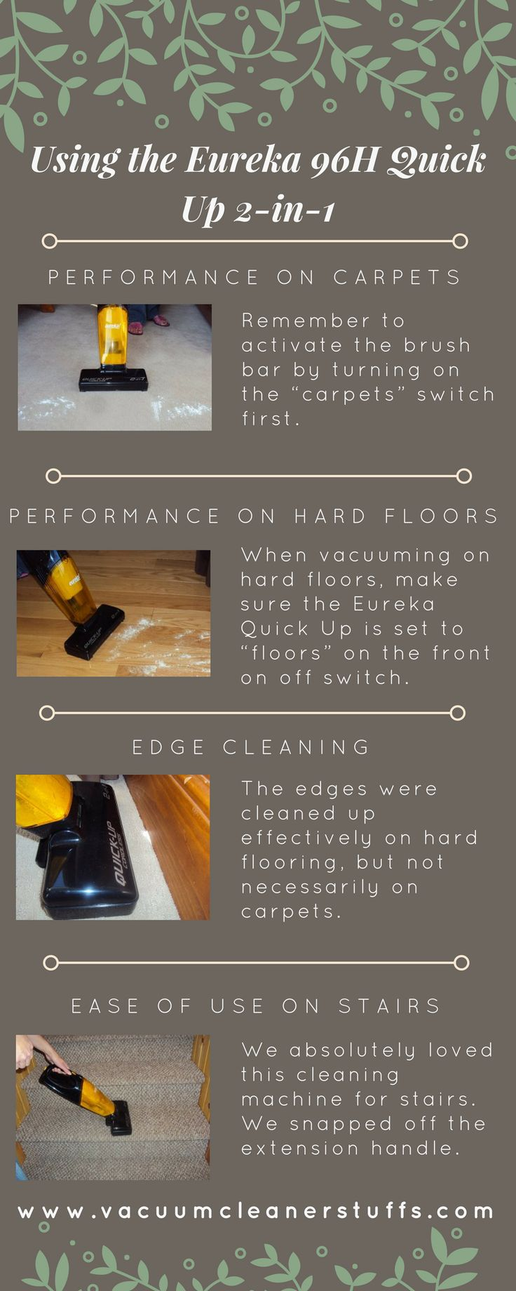 Performance of #EurekaQuickUp Cordless Vacuum  https://www.vacuumcleanerstuffs.com/eureka-quick-up-cordless-2-in-1-stick-vacuum-reviews/  #EurekaCordless Stick Vacuum is battery operated so you can charge it overnight and in morning it will be ready to use. It is 2 in 1 stick #vacuum so you can easily clean your carpet, floor, and stairs too.