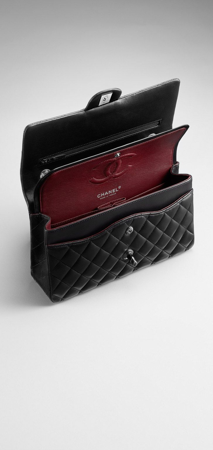 Small classic flap bag in quilted lambskin - CHANEL double flap black