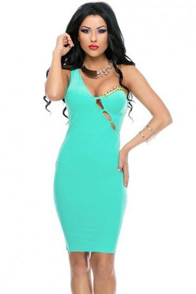 Платье облегающее Mini, лето женщины бандажное вечернее клуб аква одно плечо ремень вырез вечернее вечернее Клубная одежда 22249