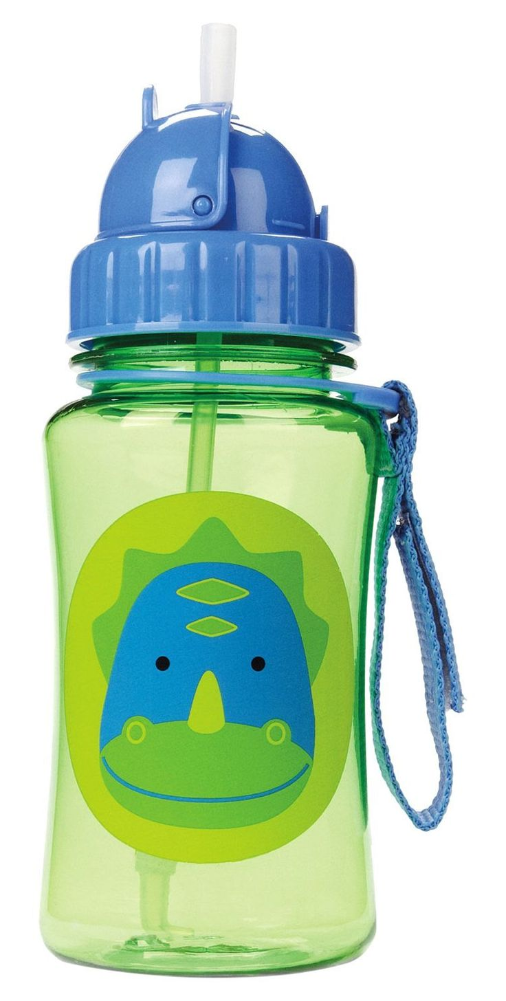 Skip hop baby zoo little kid and toddler feeding travel to go flip top straw bottle 12 oz multi dakota dinosaur straw flips down to seal closed and stay