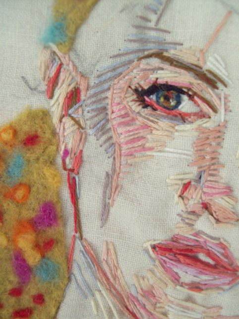 Embroidered Portrait - i really like how this self portrait is communicated so literally, the tonal range gives a realistic feel it almost looks like muscle under the skin, i think it is quite skillful hot the eye looks so photographic done with just threads.
