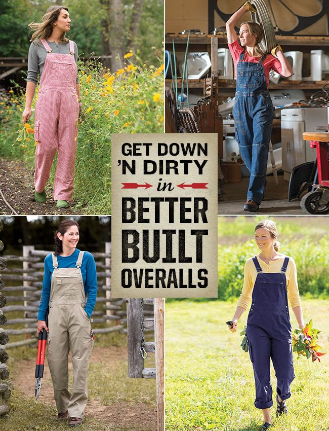 Our overalls are better built and made fetching for get-it-done women with innovations such as thoughtful pockets, feminine tailoring and built-in knee pads. Alas, the only thing we haven't improved upon is that pesky problem when wayward straps drop into the toilet! (We hear you loud and clear on that one, ladies!)