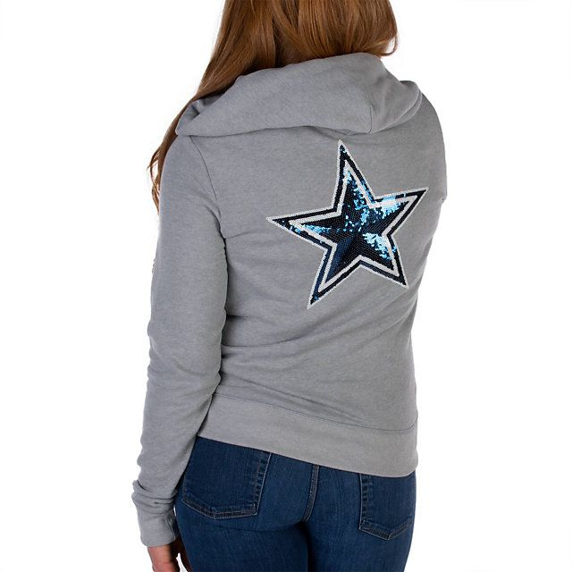 NFL Dallas Cowboys PINK Bling Full Zip Hoodie - Grey with Navy Sequins - shop.dallascowboys.com