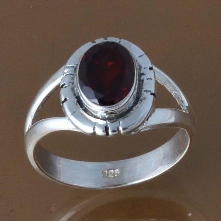 925 SOLID STERLING SILVER GARNET RING 3.30g DJR8412 SZ-6 #Handmade #Ring