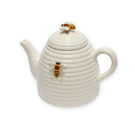 Amazon.com: Honey Bee Hive Beehive Teapot, 6.25 Inch, White with Bees: Kitchen & Dining