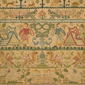 Linen sampler embroidered with silk, by Mary Smith, England, 1729.