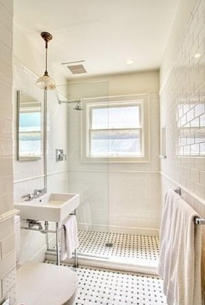 How-To DIY Article | 11 Simple DIY Ways To Make Your Small Bathroom Look BIGGER | Image Source: Prairie Perch - Interior Designer: Bosworth Hoedemaker | CLICK TO ENJOY... http://carlaaston.com/designed/11-easy-ways-to-make-a-small-bathroom-look-bigger (KWs: mirror, cabinet, closet, lighting)