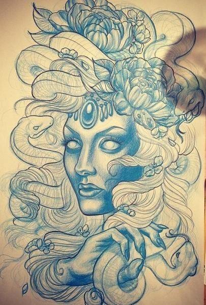 Medusa Illustration Tattoo: D07f7e33698dc8aed885a1709a96971c.jpg 405×599 Pixels
