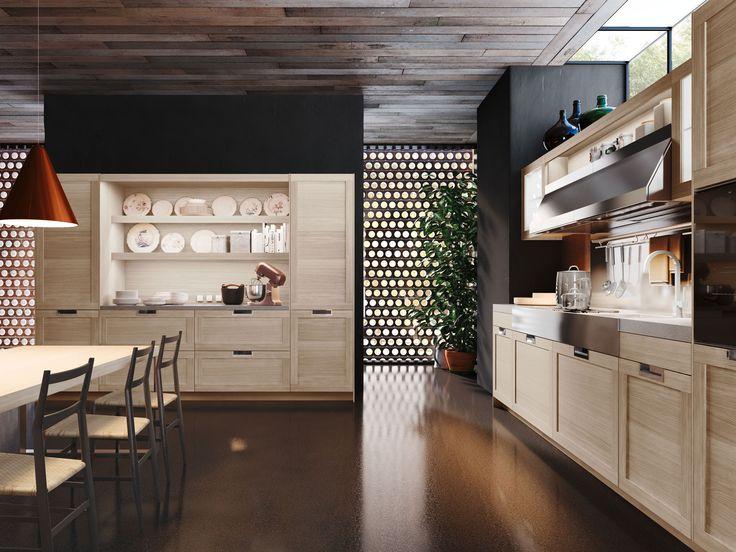 Cucine in legno: design classico contemporaneo Lux Classic   Snaidero.  Dettaglio sull'elegante credenza a giorno attrezzata con zona operativa con piano di lavoro.